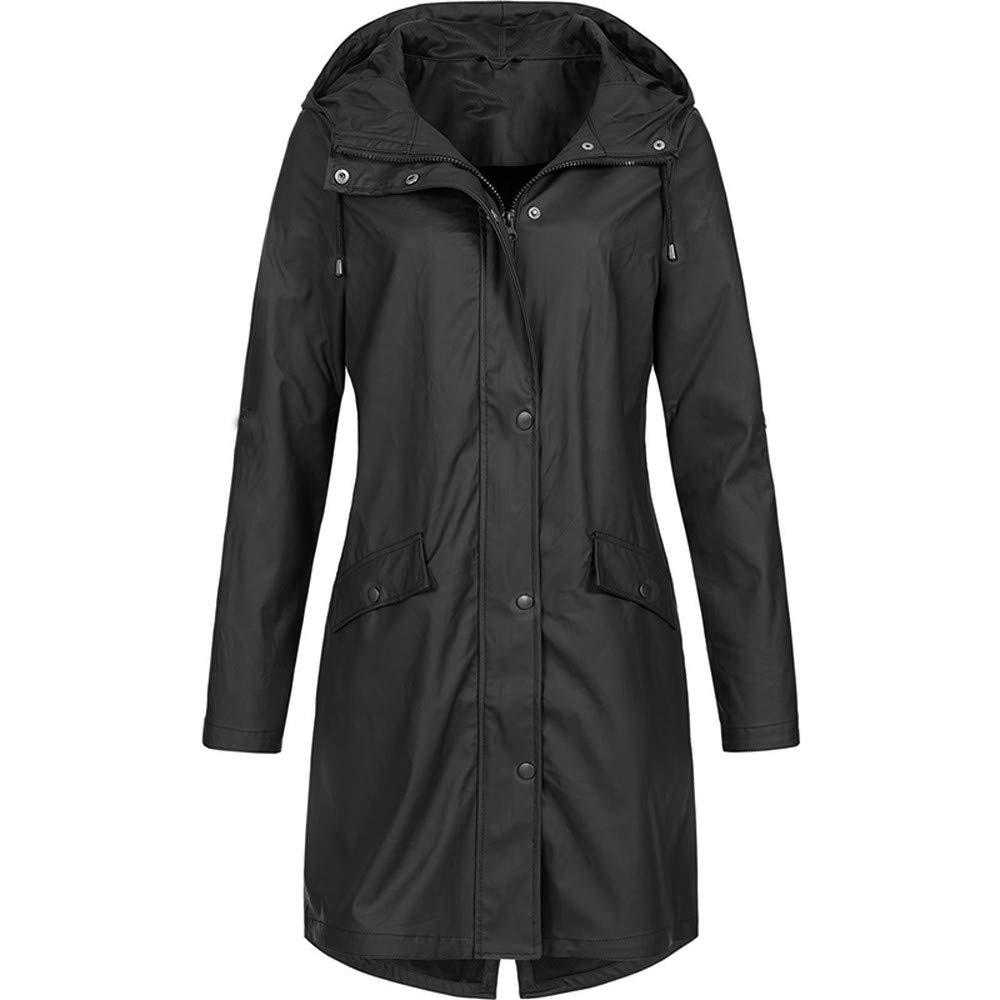 4Clovers Women's Rain Jacket Active Outdoor Hiking Climbing Raincoats Waterproof Lightweight Hooded Trench Coats Black