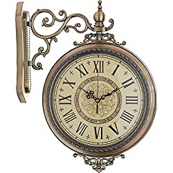 Wall Clocks Clocks Double Sided Double-Sided Metal Living Room Porch Clock European Style Watch Mute Movement Clock Wall Decoration Wall Hanging American Mantel Clocks