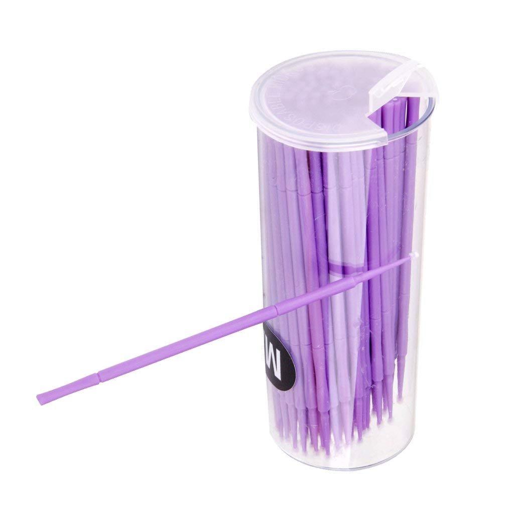 DierCosy 100Pcs disposable cotton mascara Swab eyelash extension brush Soft mascara applicator micro brush eyelash cleaning tool (purple) BeautyMisc