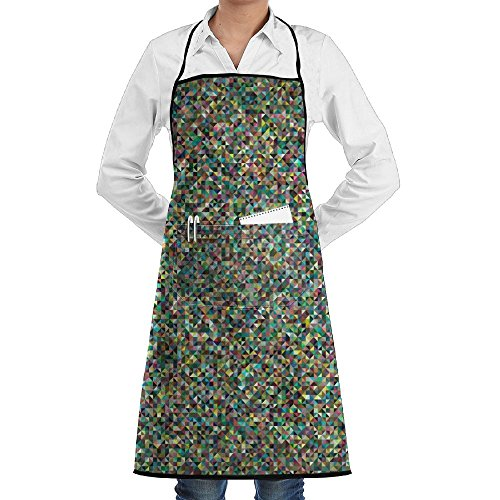 NRIEG Dense Mosaic Pattern Faction Unisex Kitchen Cooking Garden Apron,Convenient Adjustable Sewing Pocket Waterproof Chef (Mosaic Garden Thermometer)