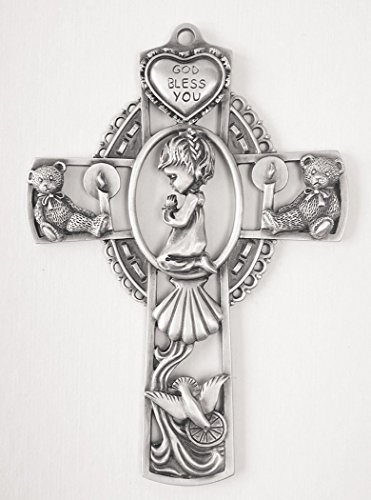 Bless Cross God Baby (Cross God Bless You Pewter Baby Wall with Praying Girl, 5 Inch)
