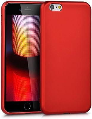kwmobile Funda para Apple iPhone 6 / 6S - Carcasa para móvil en [TPU Silicona] - Protector [Trasero] en [Rojo Oscuro Metalizado]
