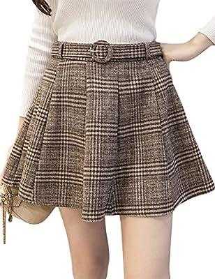 IDEALSANXUN Women's A-line Plaid Wool Short Skirt