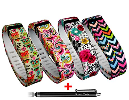 Smart Tech Store 4PCS Set Tatoo Style Flowers, Waves Lines, Colorfull Flowers and Cute Owles Style Replacement Band With Clasp for Fitbit FLEX Only /No tracker/ Wireless Activity Bracelet Sport Wrist band Fit Bit Flex Bracelet Sport Arm Band Armband