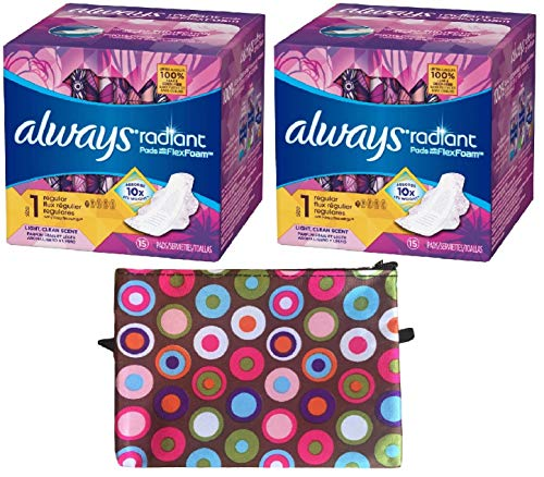 - Always Radiant Flex Foam Light Clean Scented Pads with Wings (Regular - Size 1) Bundle - Includes 2 Boxes of Pads (15 Count Each) and Discreet Zippered Bag