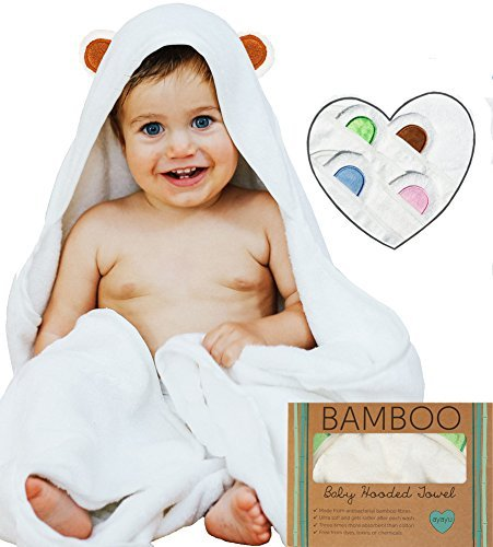 Ayayu Luxury Hooded Baby Towel and Washcloth Set | Extra Soft Organic Bamboo for Infant, Toddler, Newborn and Kids | Great for Boys and Girls at Bath, Pool and Beach | White, Brown Bear Ears ()