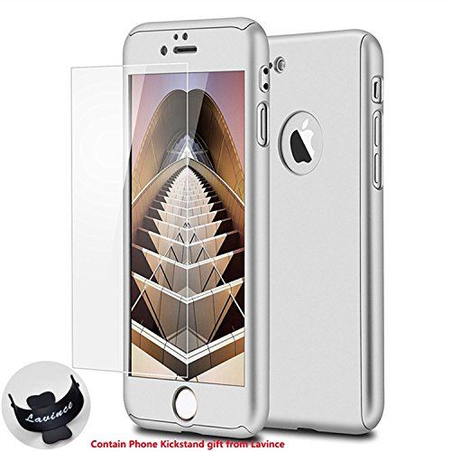 iPhone 7 Case,Lavince Full Body Protection Hard Slim Premium Cover[Dual Layer][Slim Fit] with Tempered Glass Screen Protector for iPhone 7 4.7inch(Silver)