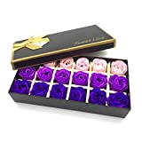 #5: Floral Scented Bath Soap Rose Flower Petals,JIALEEY Plant Essential Oil Rose Soap Set Guest Soap shaped Petals Best Gifts Ideas for Her Women Teens Girls Mom Birthdays, 18 PCS Purple