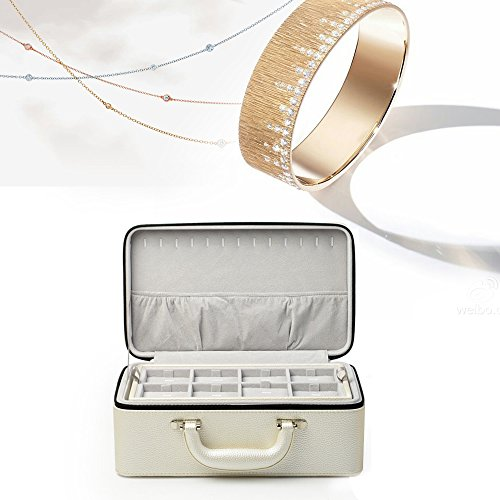 Oirlv White Leather Jewelry Box Handmade Travel Jewelry Organizer Storage Case Holder For Girl Lady Earring,Ring,Necklace,Pendant,Watch,Bracelet.(3 layers) by Oirlv (Image #3)