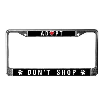 8b2e772136d7 Amazon.com: CafePress - Adopt Don't Shop - Chrome License Plate ...