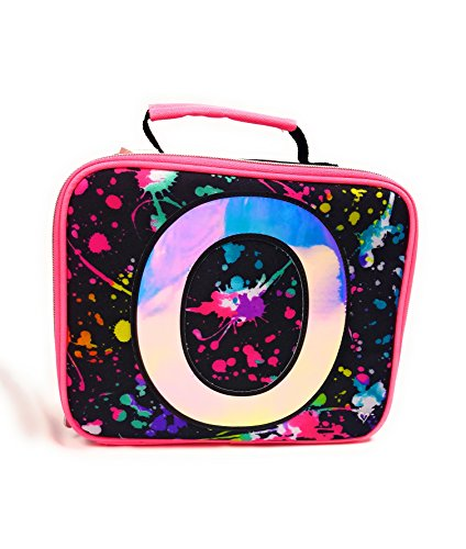 Justice Girls Initial Lunch Box / Bag Paint Splatter Positive Message (O)