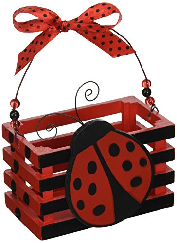 Adorable Ladybug with Hearts Wood Crate for Home Decor, Party Favor Or Decoration (Wood Ladybug)