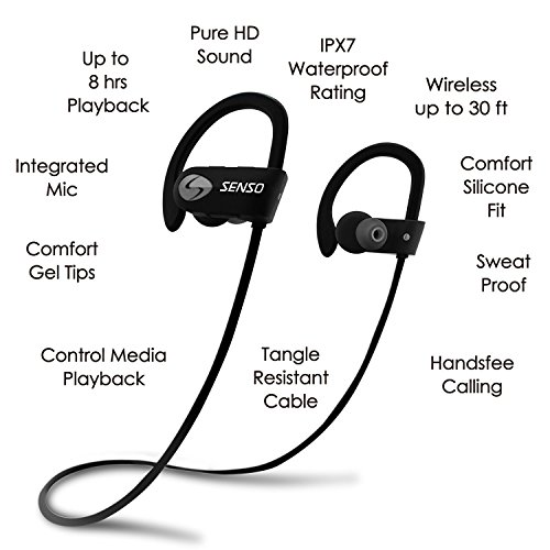 SENSO ActivBuds Bluetooth Headphones, Best Wireless Sports Earphones w/ Mic IPX7 Waterproof HD Stereo Sweatproof Earbuds for Gym Running Workout 8 Hour Battery Noise Cancelling Headsets