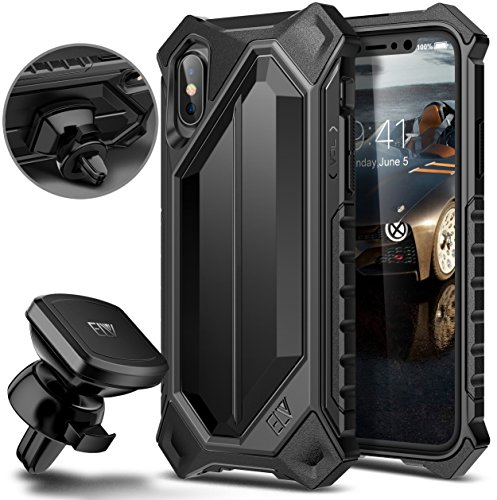 Price comparison product image iPhone X Case, ELV iPhone 10 Case High Impact Resistant Rugged Armor Hybrid Full Body Protective Case Cover for Apple iPhone X with Magnetic Car Mount [Wireless Charging Not Compatible] (black)