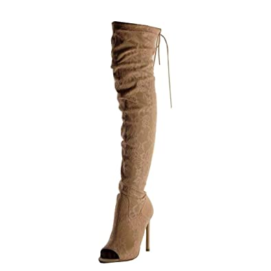 3bf2cabb8ad18 Angkorly - Chaussure Mode Cuissarde Souple Peep-Toe Sexy Femme brodé Lacets  Dentelle Talon Haut