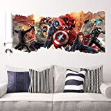 Removable 3D View The Avengers Captain America Art Mural Vinyl Waterproof Wall Stickers Kids Room Nursery Decor Decal Sticker, Picture