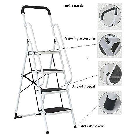 ZOCY Folding Step Ladder 4 Step Lightweight Anti-Slip Wide Step Ladder Heavy Duty 330lbs (ZL04) - Access Steel Ladder