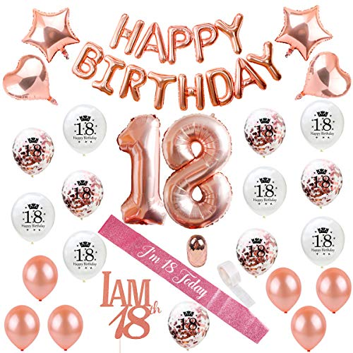 18th Birthday Decorations Party Supplies - Rose Gold 18 Birthday Balloon Numbers, Confetti Latex Balloons, 18 Cake Topper, Birthday Sash, Eighteenth Birthday Decoration by QIFU (Rose Gold Balloons 18)]()