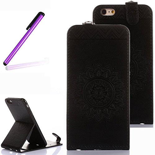 Case Black Vertical Flip (iPhone 5 Case,iPhone 5S Stand Case,iPhone SE Case,LEECO Vertical Flip Soft PU Leather Wallet Magnetic Closure with Credit / Business Card Holder for Apple iPhone 5 / 5S / SE Totems Black)