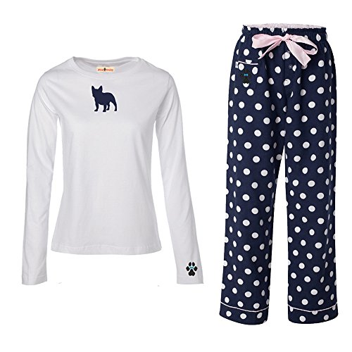 French BullDog Ladies Flannel Pajamas. Size L - Bulls Pajamas Women