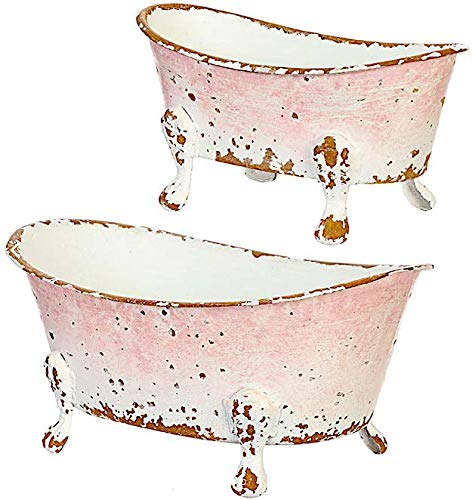 """RAZ Imports Decorative Bathtub Containers Soap Dish Holder Succulent Planter Rustic Weathered Appearance (Set of 2) 7"""" & 5.5"""""""