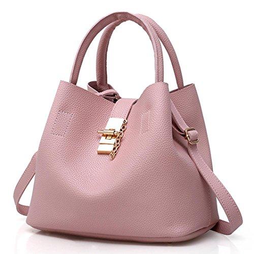 Shoulder Handbag Pink Black Bags with Fashion Leather Mother Women's NXDA Buns 2Pcs Bag qUBpwS