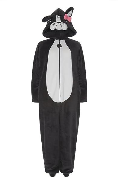 Pug perro Onesie pijama (francés Bulldog para mujer y niñas. gris Pug Charcoal XL