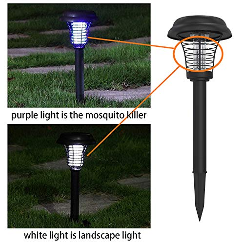 2pc Solar Powered Led Light Bug Zapper Mosquito Insect