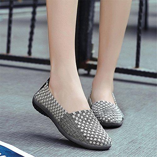 Gris 566 Fzdx Main Chaussures Glissent Sur Chaussures De À Légères Espadrilles Femmes Marche Tissées Mode Confort La qnaWq06Or