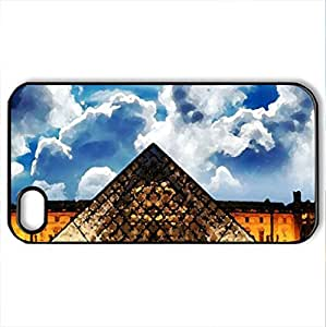 Musee du Louvre - Case Cover for iPhone 4 and 4s (Medieval Series, Watercolor style, Black)