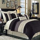 Hudson Black Queen size Luxury 12 piece comforter set includes Comforter, bed skirt, pillow shams, decorative pillows, flat sheet, fitted sheet, standard pillowcases.