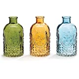 Small Amber, Blue, And Green Glass Bottle Vases Set of 3