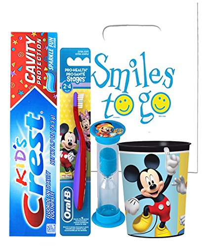 Mickey Mouse & Friends 4pc Bright Smile Oral Hygiene Bundle! Toothbrush, Toothpaste, Brushing Timer & Mouthwash Rinse Cup! Plus Dental Gift Bag & Tooth Saver Necklace!