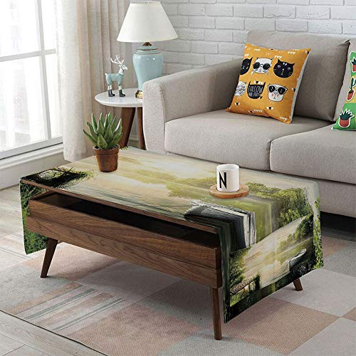 iPrint Linen Blend Tablecloth,Side Pocket Design,Rectangular Coffee Table Pad,Nature,Boat by The Foggy Lake Deck Dreamy Forest in The Morning Country Style Image,Olive Green White,for Home (Low Country Sideboard)