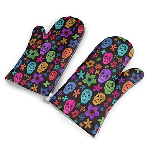 FUNINDIY Heat Resistant Oven Mitts Halloween Wallpaper Skull Microwave Non-Slip Textured Gloves 1 Pair for Cooking Baking BBQ.]()