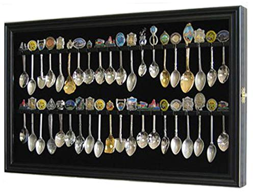 40 Spoon Display Case Cabinet Holder Rack with Glass Door, Wall Mounted -BLACK Finish (SP04-BL)