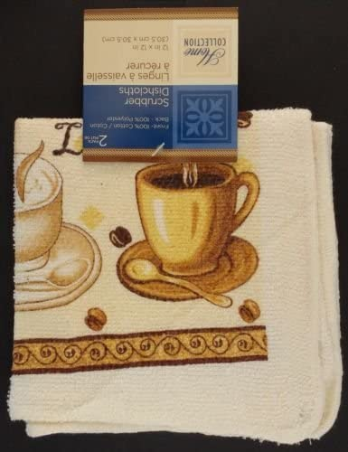 Home Collection Latte Kitchen Towel Oven Mitt and Two Scrubbing Dish Cloths