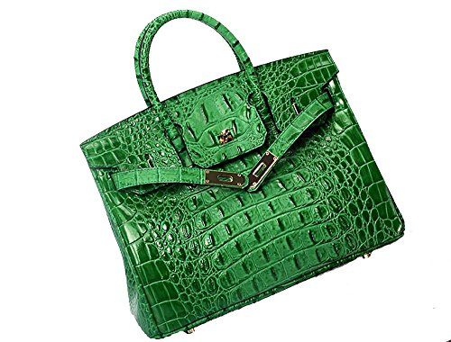 Vintage Alligator Birkin Style Bag Purse Tote Handbag (Green, 30cm - M) by Pristine&BB (Image #10)