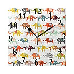 Wall Clock Baby Themed Elephant Silent Non Ticking Decorative Square Digital Clocks Indoor Outdoor Kitchen Bedroom Living Room