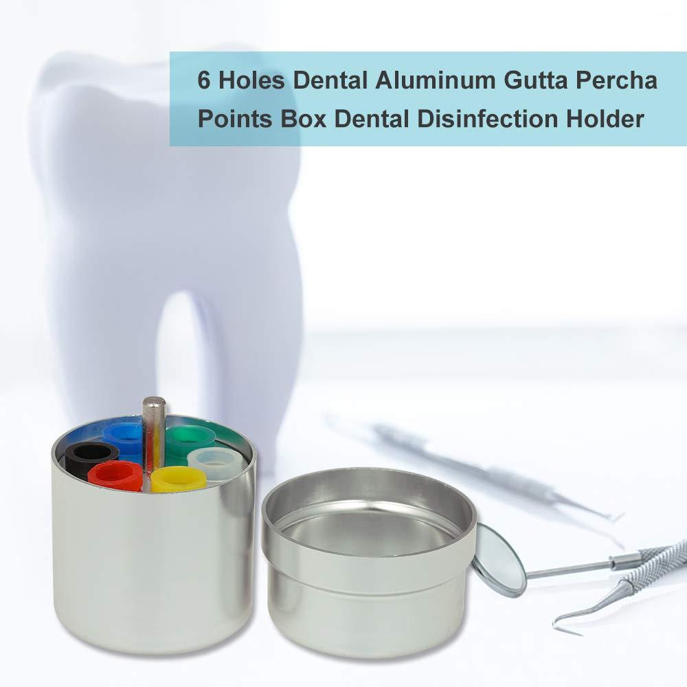 Festnight 6 Trous Dentaire Endo Box Bur Organisateur En Aluminium Gutta Percha Points Box Titulaire De La D/ésinfection Titulaire Dentiste Mat/ériel De Laboratoire