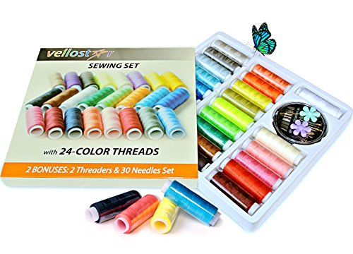 POLYESTER SEWING THREAD KIT with 24 Assorted Colored Bobbins, Durable Refill Threads - 200 Yards of Thread Sewing Supplies for Hand Embroidery - 30 High Grade Gold Tail Needle & 2 Threaders Included (Polyester Kit Thread)