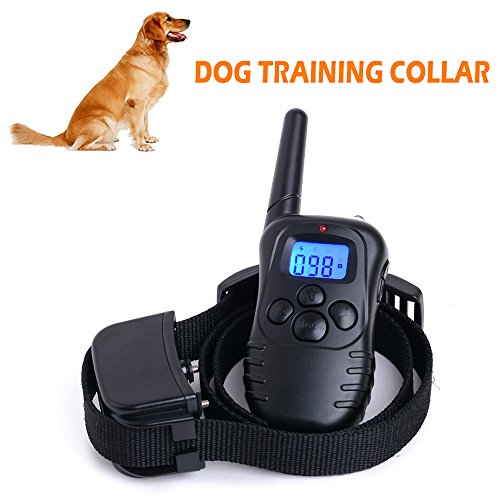 Lemonbest® Upgraded Rechargeable Safe Shock Vibrating Beep Dog Training Collar , Electronic Waterproof 300M 100 Levels LCD Remote Pet Training System with Back light (For one dog)