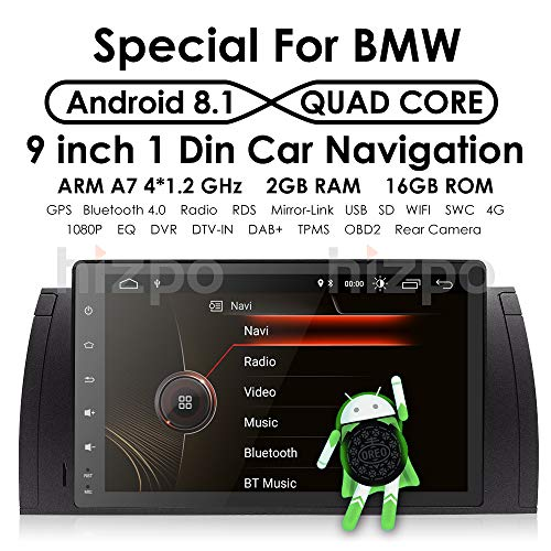 (Android 8.1 9 Inch Quad Core 1024600 HD Touchscreen Car Radio Player with GPS Navigation fit for BMW E39 E38 M5 X5 5 Series SWC WiFi 4G USB SD CAM-in DAB+)