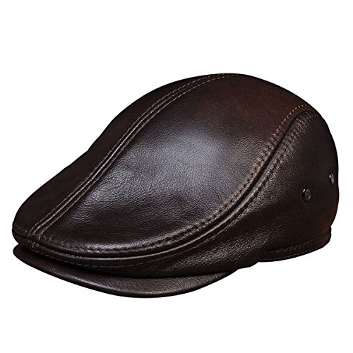 73562079 Haisum Men's Leather Newsboy Cap Ivy Gatsby Flat Golf Driving Hunting Hat