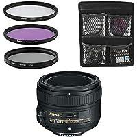Nikon Objetivo - AF-S FX NIKKOR 50mm f/1.8G - Lente para Cámara Réflex Digital + Juego de Filtros de 3 Piezas UV, CPL, FLD - Negro
