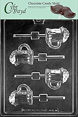 Cybrtrayd D098 Beer Mug Lolly Chocolate Candy Mold with Exclusive Cybrtrayd Copyrighted Chocolate Molding Instructions