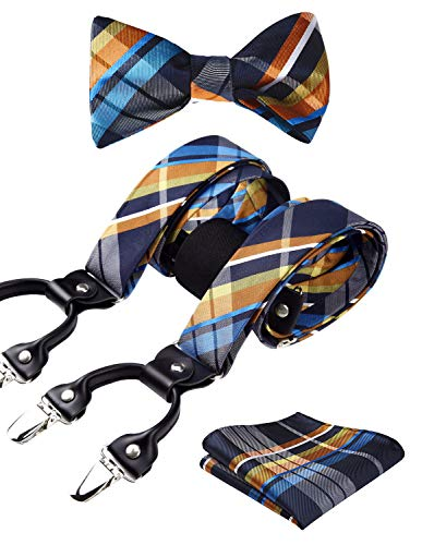 HISDERN Check Stripe 6 Clips Suspenders & Bow Tie and Pocket Square Set Y Shape Adjustable Braces]()
