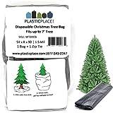 Plasticplace Christmas Tree Disposal and Storage Bag│Fits Trees 7' Tall│54' x 8' x 90', 1.5 MIL, Black