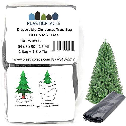Plasticplace Christmas Tree Disposal and Storage Bag│Fits Trees 7 Tall│54 x 8 x 90, 1.5 MIL, Black