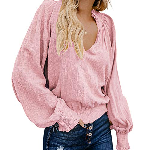RXRXCOCO Womens V-Neck Casual Tops Smocked Peasant Blouse Lantern Long Sleeve Loose Shirts Pink Small ()